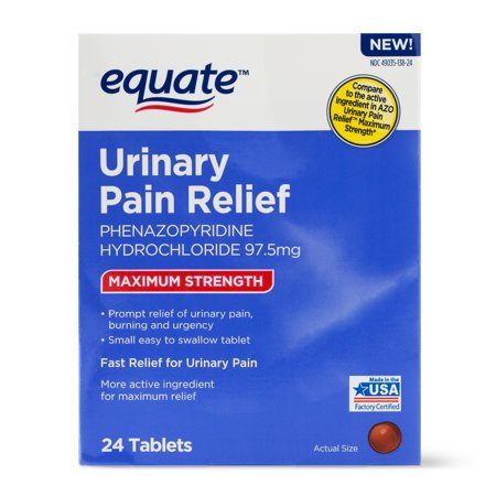 - Equate Maximum Strength Urinary Pain Relief Phenazopyridine Tablets, 97.5 mg, 24 Count