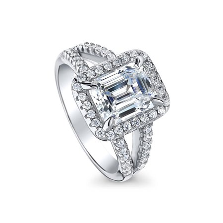 993b19fb0 BERRICLE - Rhodium Plated Sterling Silver Cubic Zirconia CZ Halo Engagement  Split Shank Ring Size 8 - Walmart.com