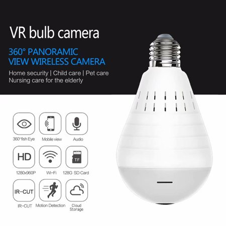 WiFi Bulb Security Camera -Wireless Security Camera Bulb- Fisheye LED Light 360° Panoramic for Remote Light Cameras, Motion Detection for iPhone/Android/Windows Wireless Motion Light Camera