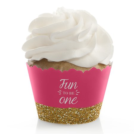 Fun to be One - 1st Birthday Girl - First Birthday Party Cupcake Wrappers - Set of 12](1st Birthday Girl Party Supplies)