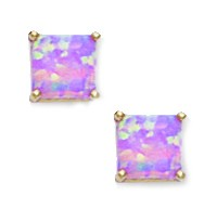 14k Yellow Gold Pink 5x5mm Square Simulated Opal Earrings by