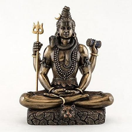 Top Collection 8.5 Inch Shiva in Padmasana Lotus Pose Hindu Statue in Cold Cast Bronze
