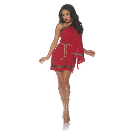 Red Toga Womens Adult Greek Roman Goddess Halloween Costume