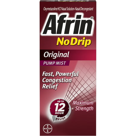 Afrin No Drip Original 12 Hour Nasal Decongestant Pump Mist - 15 mL
