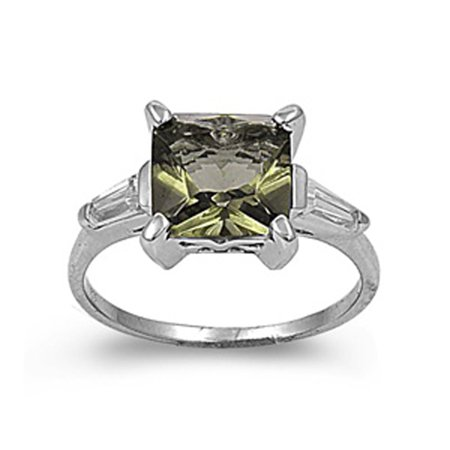 Sterling Silver Women's Olive Simulated CZ Shiny Ring ( Sizes 5 6 7 8 9 ) Beautiful 925 Band 10mm Rings (Size 8)
