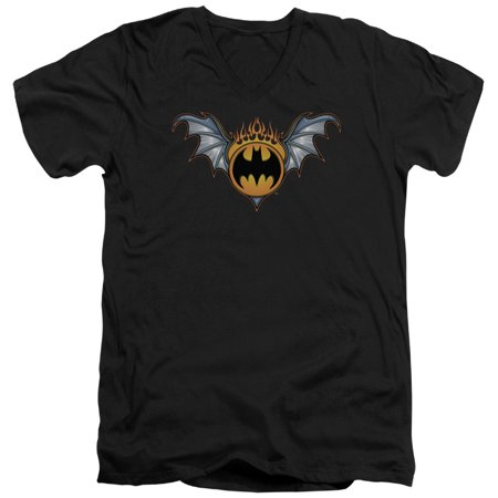 Batman - Bat Wings Logo - Slim Fit V Neck Shirt - Large