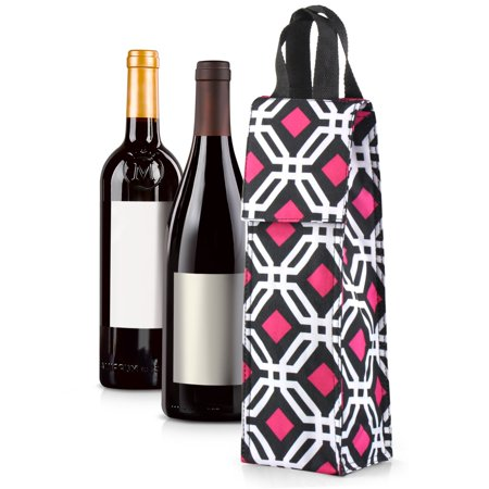 Thermal Insulated Lightweight Wine Bottle Tote Carry Bag by Zodaca for Party  - Black Graphic - Wine Bag