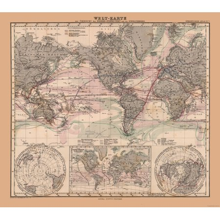 World Map With Currents.Old World Map Sea Currents Stielers 1885 25 93 X 23 Walmart Com
