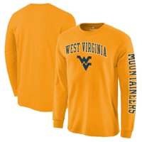 West Virginia Mountaineers Fanatics Branded Distressed Arch Over Logo Long Sleeve Hit T-Shirt - Gold