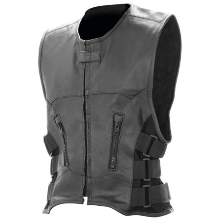 Biker Vest Buffalo Leather Classic Motorcycle MC Biker Club Lined (M)