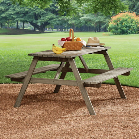 Wooden Picnic Table - Mainstays Martis Bay Slatted Picnic Table, Weathered Gray