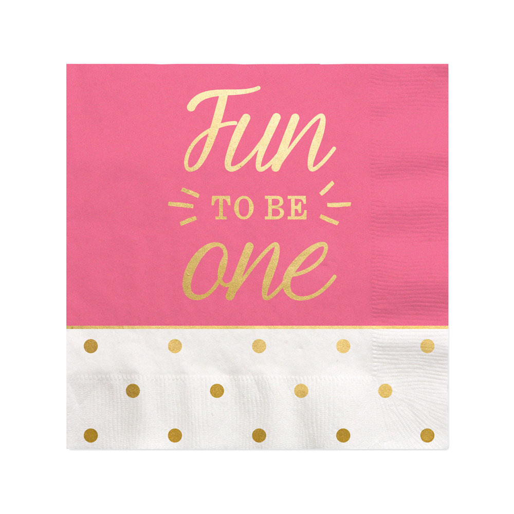 Fun to be One - 1st Birthday Girl with Gold Foil - Beverage Napkins (16 count)