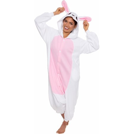 SILVER LILLY Unisex Adult Plush Bunny Animal Cosplay Costume Pajamas (Onesie Bunny Suit)