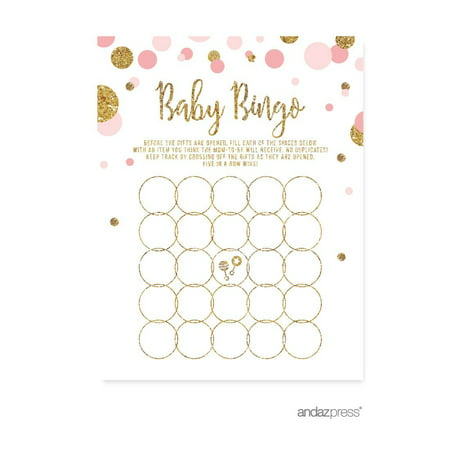 Baby Bingo Game  Blush Pink Gold Glitter Baby Shower Games, 20-Pack (Luau Baby Shower)