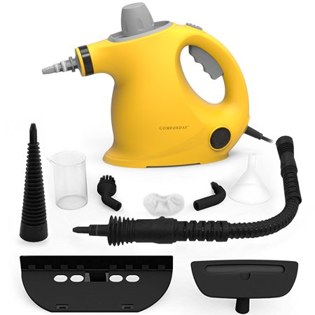 Comforday Multi Purpose Portable Handheld pressurized steam cleaner with child lock function and 9-piece accessories (Yellow with Grey
