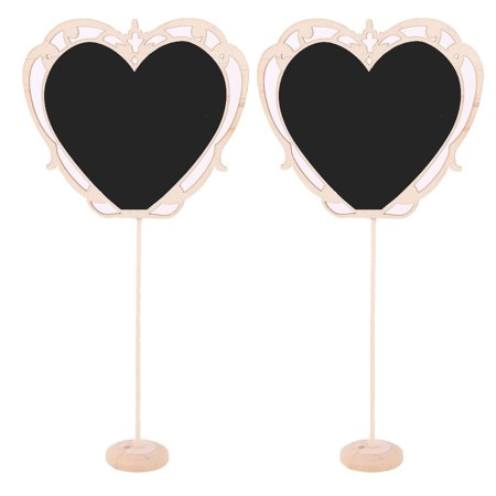 Household Wood Heart Shaped Standing Memo Message Board Wordpad Blackboard 2Pcs