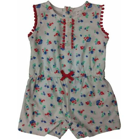 51e38d5296b Carters White Coral   Blue Floral Infant Single Romper Outfit Baby Bodysuit  - Walmart.com