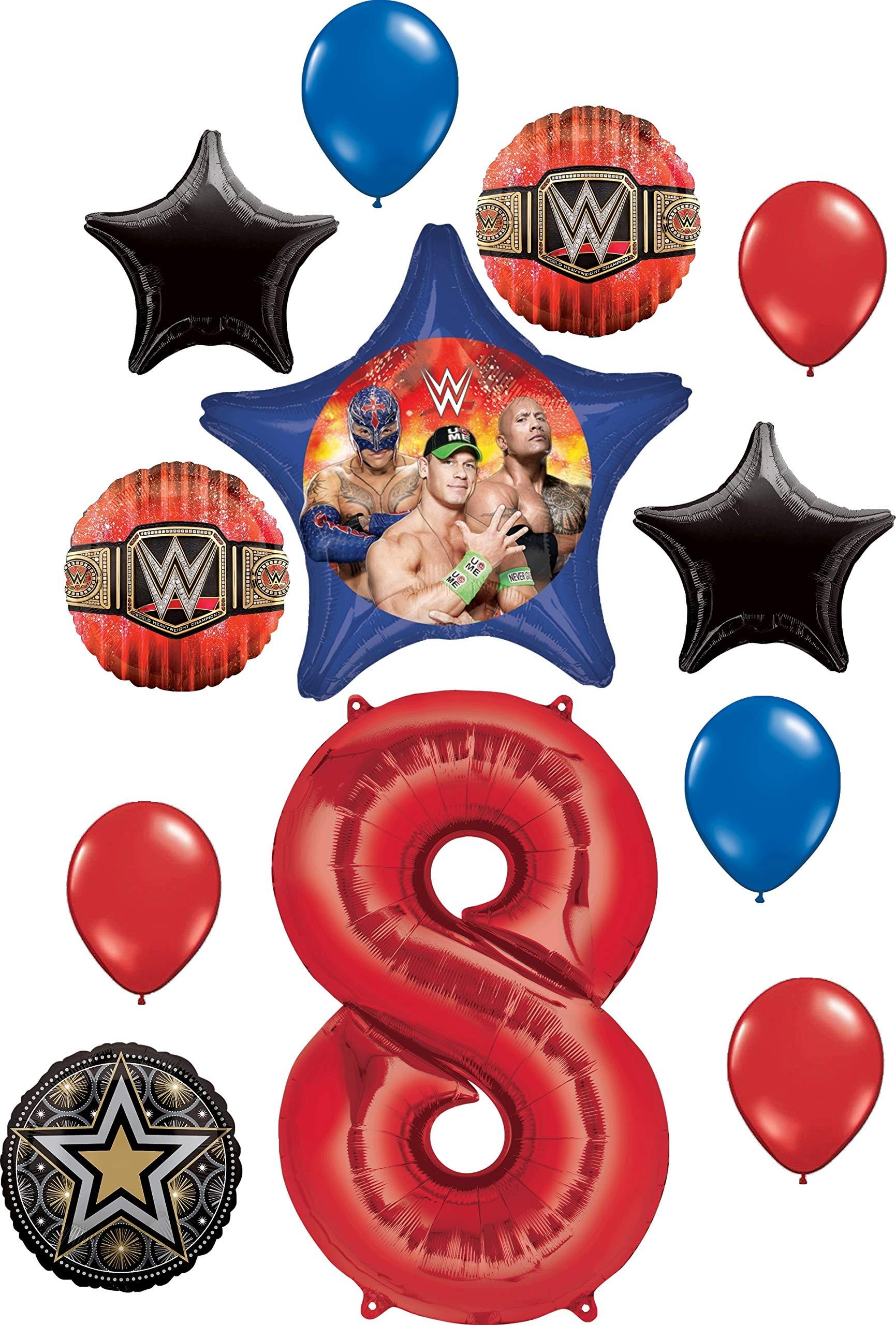 Wwe Party Supplies 8th Birthday Balloon Bouquet Decorations Walmart Com Walmart Com