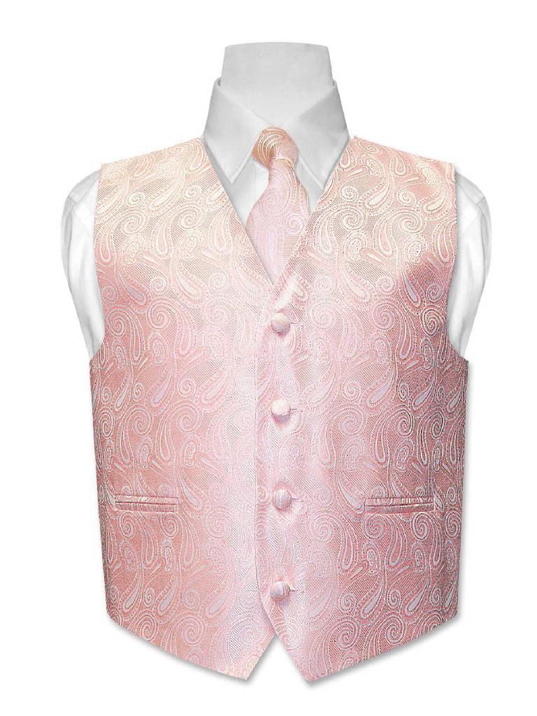 Covona BOY'S Paisley Dress Vest & NeckTie PEACH Color Neck Tie Set size 14