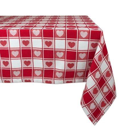 DII Hearts Woven Check Tablecloth, 52