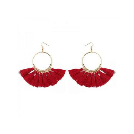 Circle Chain Drop Earrings (Fashion Women's Boho Round Circle Tassel Drop Earrings )