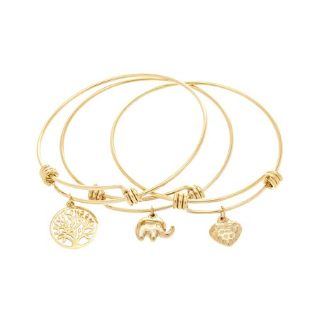 - Gold-Tone Stainless Steel 3 Pieces Dangling Hammered Heart Elephant Tree of Life Bangle