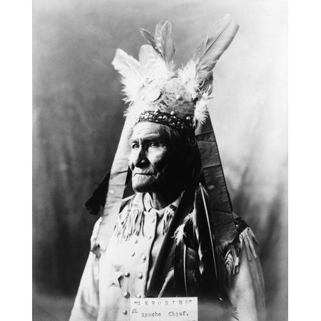 Geronimo  1829 1909  Namerican Apache Leader Photograph By Warren Mack Oliver C1907 Rolled Canvas Art     24 X 36