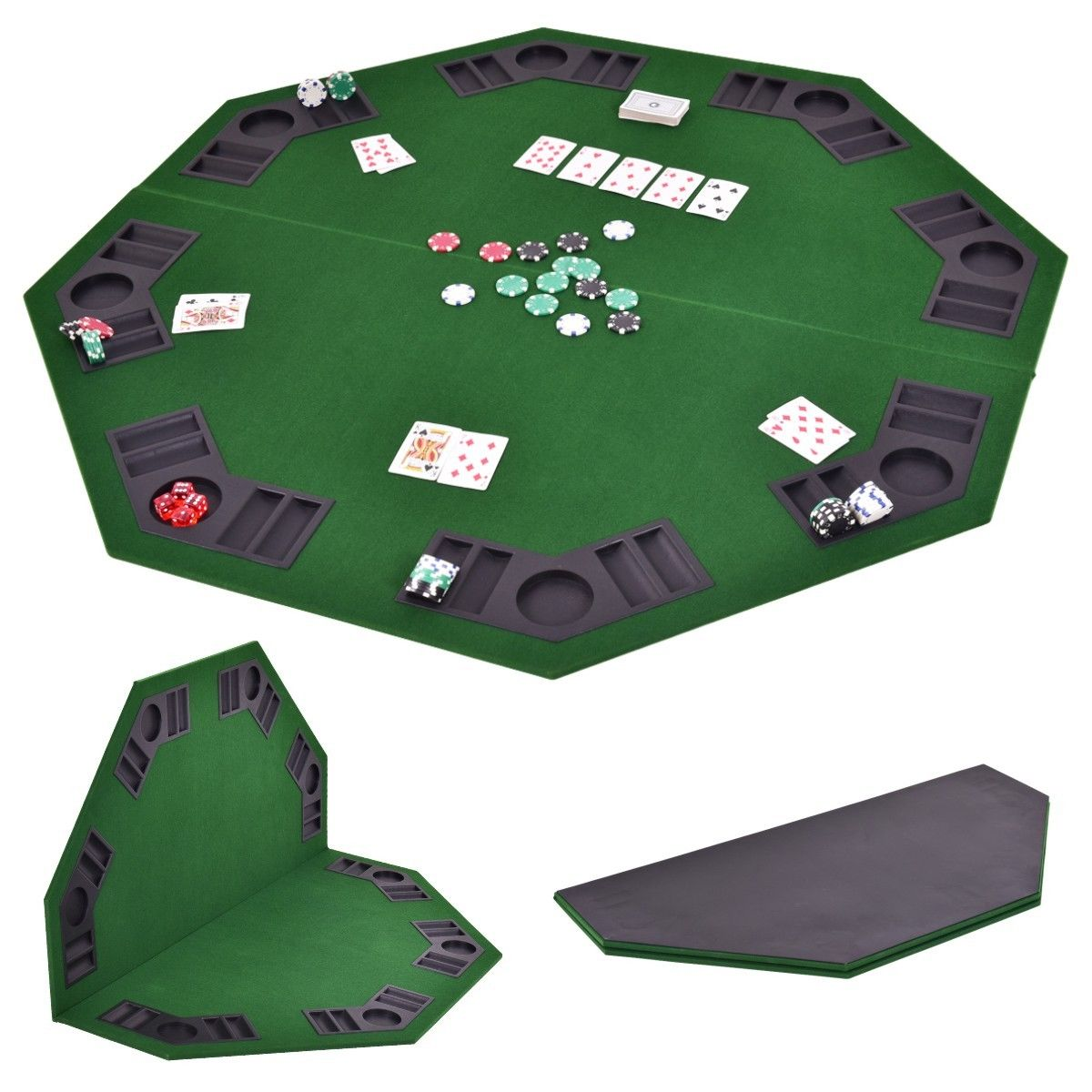 Portable Folding Poker Table Top 8 Casino Player w//Carrying Case Home Party Game