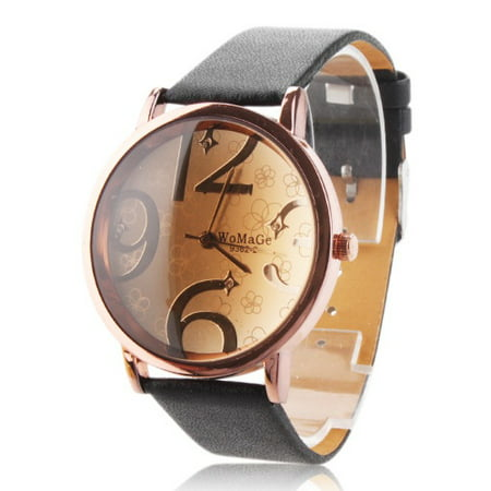 Fashion Weave Wrap Genuine Woman Quartz Wrist Watch Leather Bracelet Round Dial Big Numbers Dial Black Band Analog Sport Girl ()