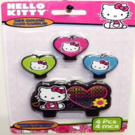 Hello Kitty 'Neon Tween' Mini Molded Cake Candles (4ct) (Mini Molded Cake Candles)