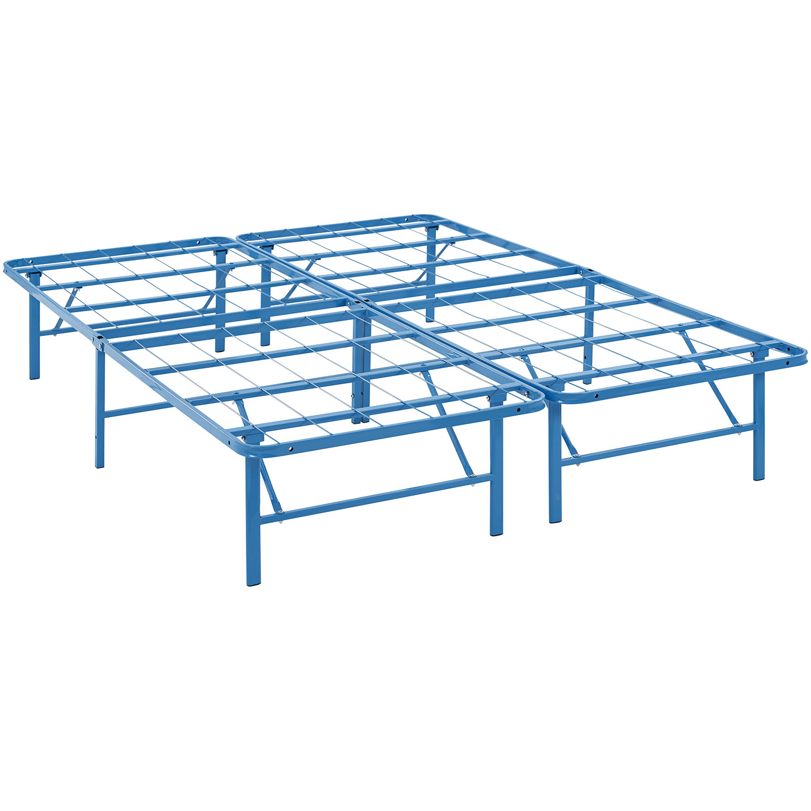 Modern Contemporary Urban Design Bedroom Full Size Platform Bed Frame, Blue, Metal Steel