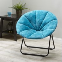 Mainstays Plush Saucer Chair 1 piece,polyester padded cushion with sturdy metal frame, Multiple Colors