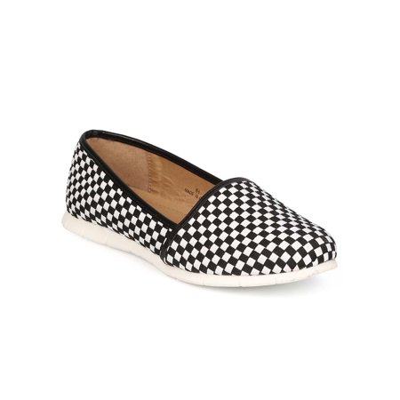 ED15 Women Checker Round Toe Lightweight Slip on Loafer Sneaker - Black/White