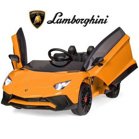 Best Choice Products Kids 12V Ride On Battery Powered Vehicle Lamborghini Aventador SV Sports Car Toy w/ Parent Control, AUX Cable, 2 Speed Options, LED Lights, Music, Horn -