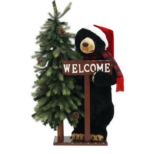 33 tall holiday time black bear christmas decoration walmartcom - Bear Christmas Decorations