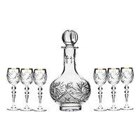 Set of 7 16-Oz Vintage Cut Crystal Liquor Decanter Set with 6 Sherry Glasses (5)