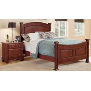 Panel Bed w Nightstand in Cherry Finish (Full)
