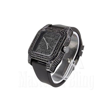 Watches For Men Techno Pave Black Gold Finish Lab Created Cubic Zirconia Silicone Band New