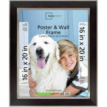 Mainstays 16x20 Espresso Poster and Picture Frame, Espresso with Silver Bead Detail ()