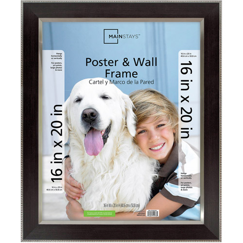 Mainstays 16x20 Espresso Poster and Picture Frame, Espresso with Silver Bead Detail
