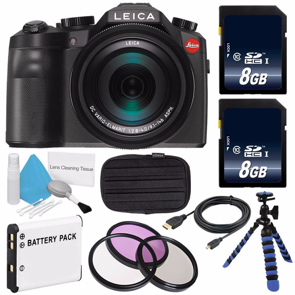 Leica V-LUX (Typ 114) Digital Camera (International Model no Warranty) + Replacement Lithium Ion Battery + Flexible Tripod with Gripping Rubber Legs + Mini HDMI Cable Bundle 18