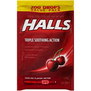 HALLS Cherry Cough Suppressant/Oral Anesthetic,  Pack Of 200 Count Cherry 200 Drops