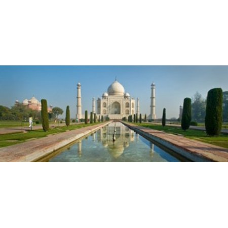 Reflection of a mausoleum in water Taj Mahal Agra Uttar Pradesh India Canvas Art - Panoramic Images (15 x
