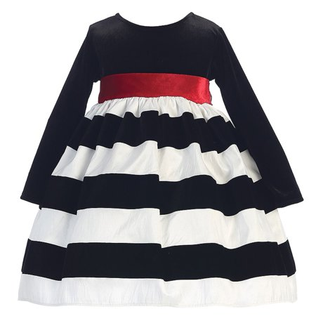White Black Flocked Stripe Long Sleeve Christmas Dress Girl