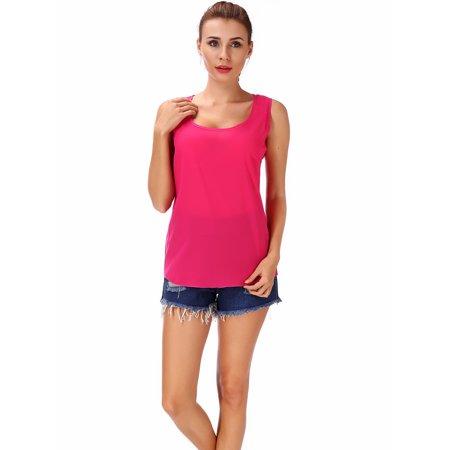 - SAYFUT Women's Plus Size Chiffon Tops Sleeveless Tank Tops Loose Chiffon Blouse Solid Color Red/Blue/Purple/Green/Black M-3XL