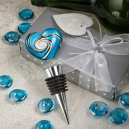 12 Stunning Murano Heart Design Wine Bottle Stoppers