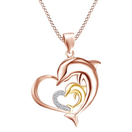 Mother's Day Special Round Shape White Natural Diamond Accents Two Tone Heart Double Dolphin Pendant Necklace In 14k Rose Gold Over Sterling