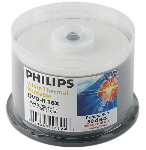 400 Philips 16X DVD-R 4.7GB White Thermal Hub Printable