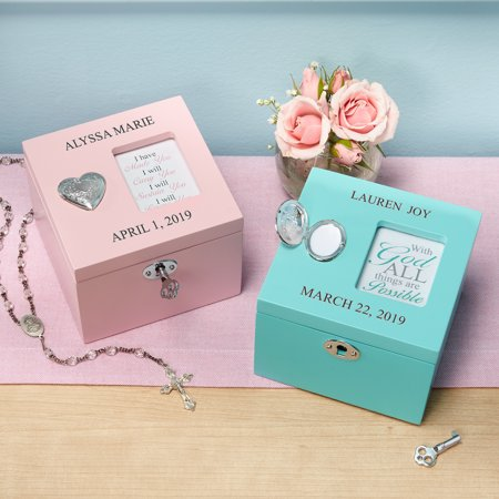 Personalized Cross Locket Keepsake Box - Available in Pink and Teal