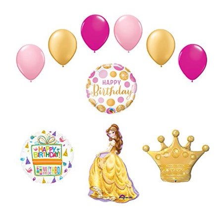 Beauty and The Beast Belle Crown Princess Balloon Birthday Party supplies - Beauty And The Beast Party